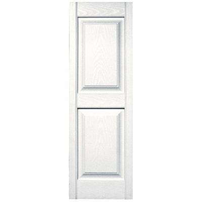 15 in. x 47 in. Raised Panel Vinyl Exterior Shutters Pair in #117 Bright White