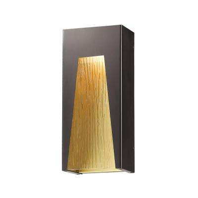 Farran 75-Watt Equivalent Outdoor Bronze Gold Integrated LED Wall Mount Sconce with Chisel Glass Shade