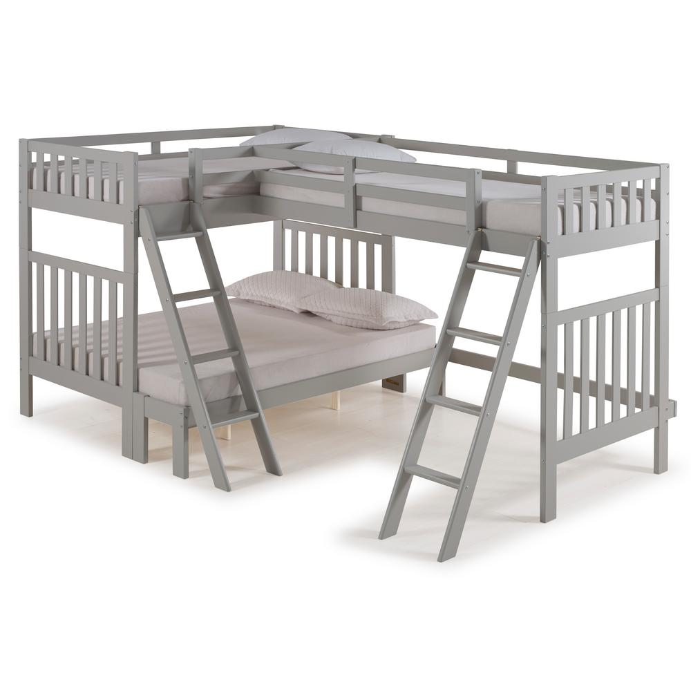 Alaterre Furniture Aurora Dove Gray Twin Over Full Bunk Bed With Tri