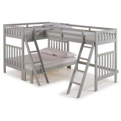 Aurora Dove Gray Twin Over Full Bunk Bed with Tri-Bunk Extension
