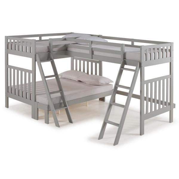 Alaterre Furniture Aurora Dove Gray Twin Over Full Bunk Bed with Tri-Bunk Extension