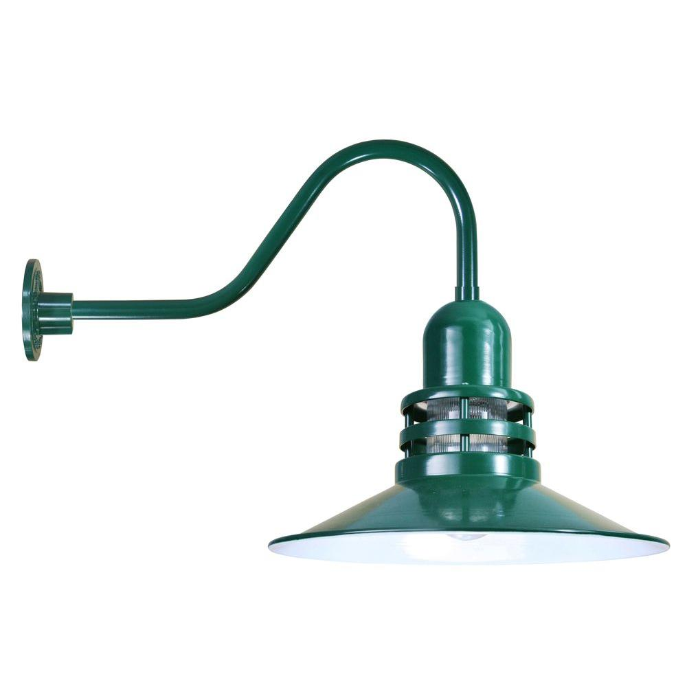 1-Light Outdoor Green Angled Arm Orbitor Shade Wall Sconce