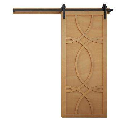 36 in. x 84 in. Hollywood Sands Wood Barn Door with Sliding Door Hardware Kit