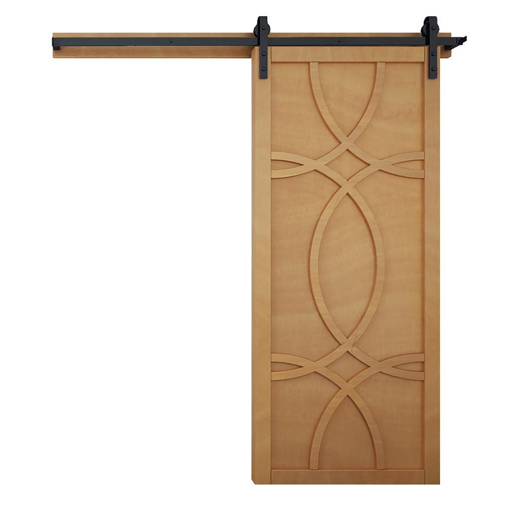 42 in. x 84 in. Hollywood Sands Wood Barn Door with Sliding Door Hardware Kit