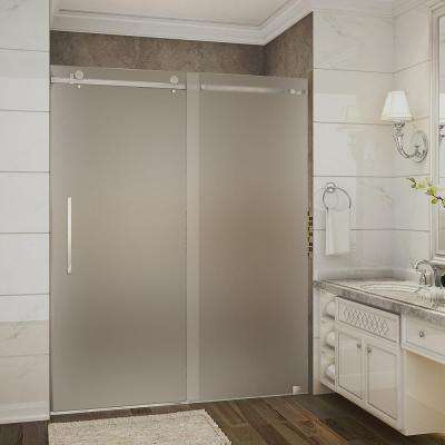 Moselle 56 in. to 60 in. x 75 in. Completely Frameless Sliding Shower Door with Frosted Glass in Brushed Stainless Steel