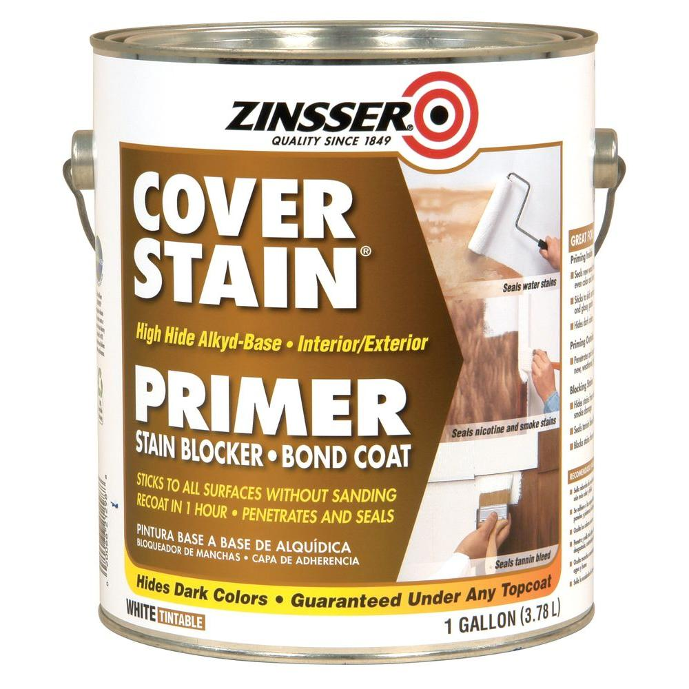 Cover Stain 1 gal. White High Hide Alkyd-Base Interior/Exterior Primer and