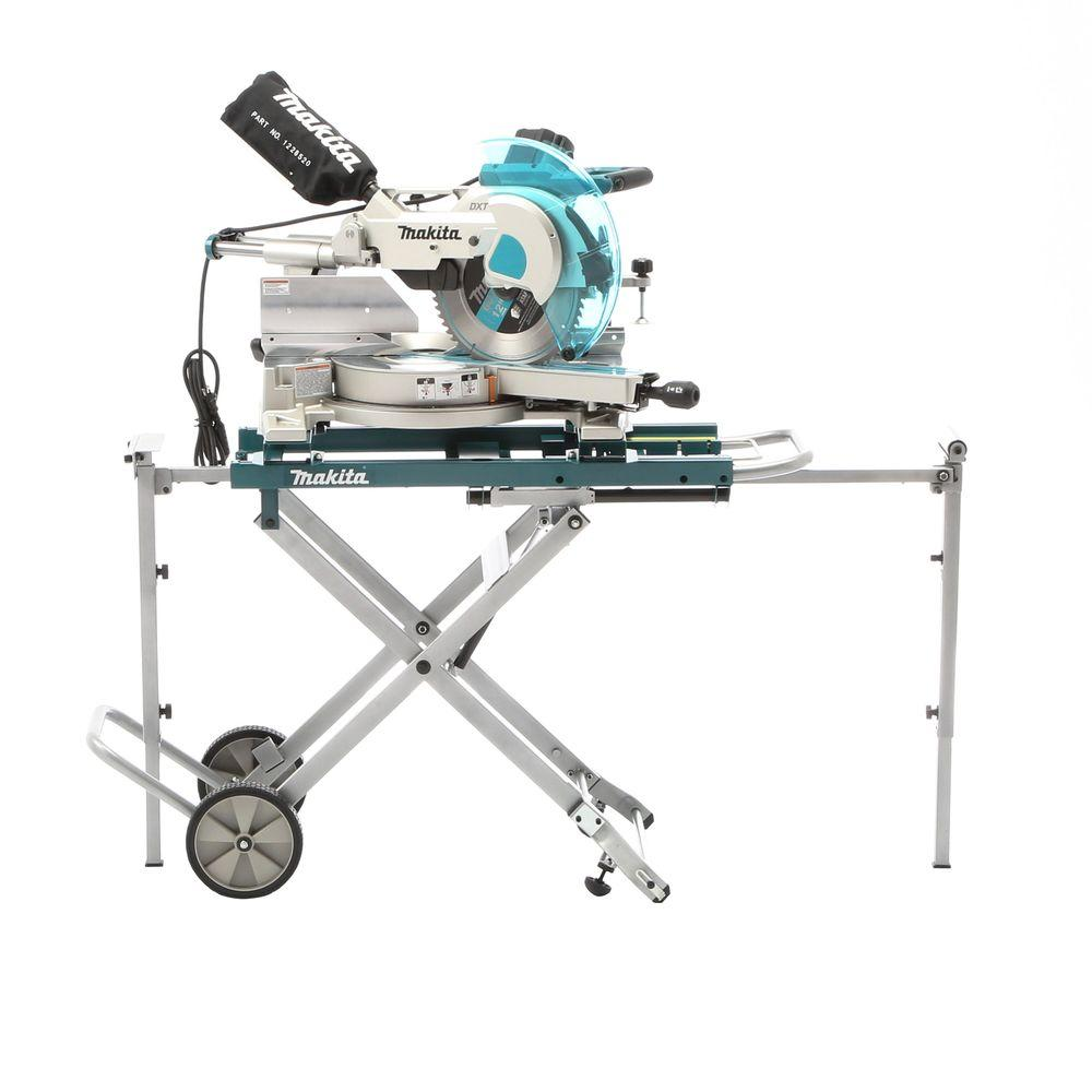 Makita 15-Amp 12 in. Dual Slide Compound Miter Saw with Laser and Stand