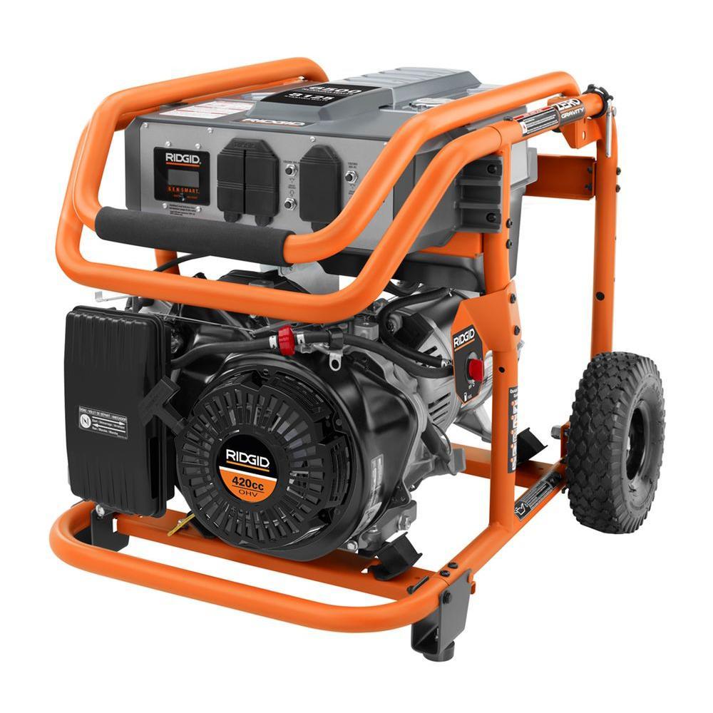 RIDGID 6,500-Watt 420cc Gasoline Powered Portable Generator