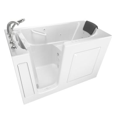 Gelcoat Premium Series 60 in. Left Hand Walk-In Whirlpool and Air Bathtub in White