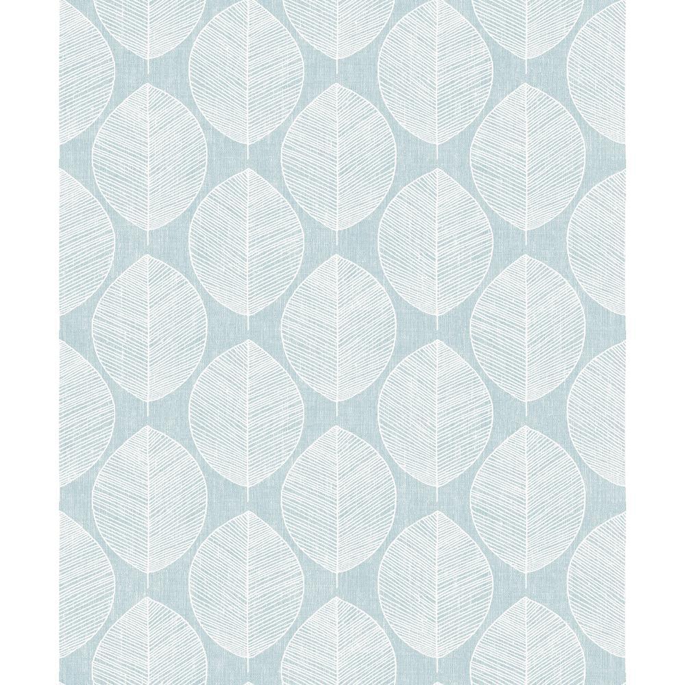 Scandi Leaf Teal Wallpaper