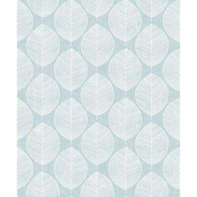 Scandi Leaf Teal Wallpaper