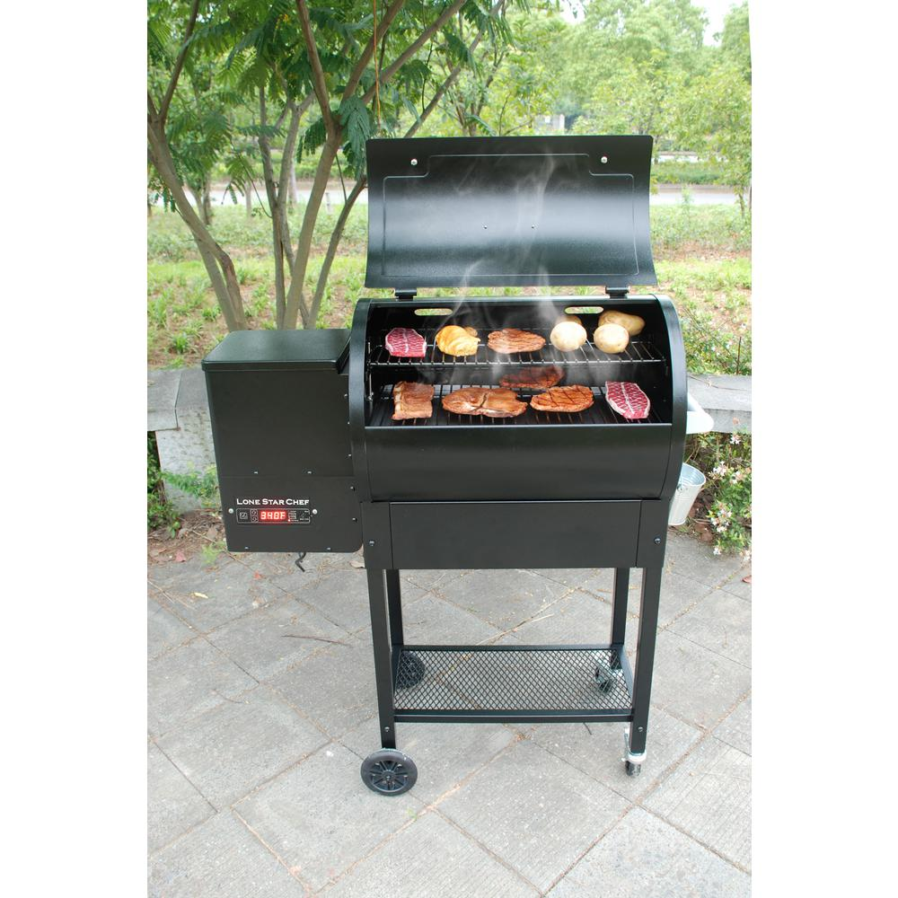 Lifesmart Pellet Grill and Smoker with Single Meat Probe PID Digital Control and Extended 760 sq. in. Cooking Surface in Black