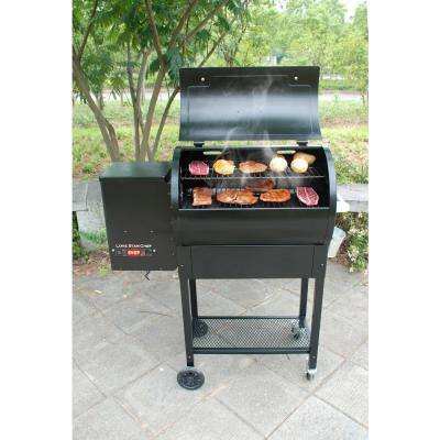 Pellet Grill and Smoker with Single Meat Probe PID Digital Control and Extended 760 sq. in. Cooking Surface in Black