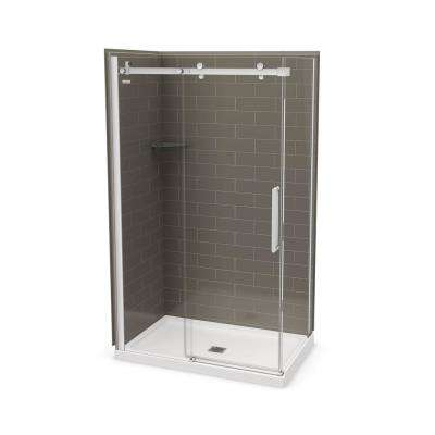 Utile Metro 32 in. x 60 in. x 83.5 in. Center Drain Corner Shower Kit in Thunder Grey with Chrome Shower Door