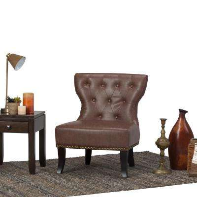 Kitchener Rustic Brown Bonded Leather Accent Chair