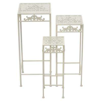 27.5 in. White Metal Plant Stand (Set of 3)
