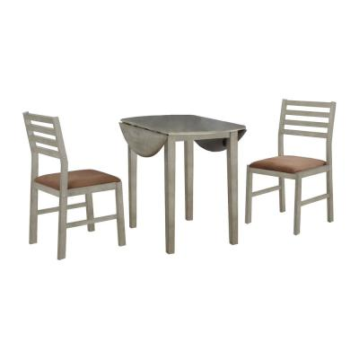 Nathaniel Home 3-Piece Gray Solid Wood Round Dining Set with Brown Color Seats