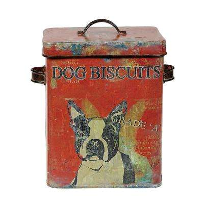 Vintage Tin Dog Biscuit Container with Boston Terrier
