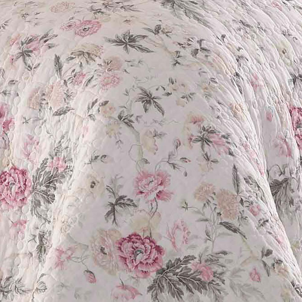 Laura Ashley Breezy Floral 3-Piece Grey Full/Queen Quilt Set