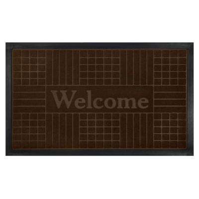 Coffee 18 in. x 30 in. Geometric Door Mat