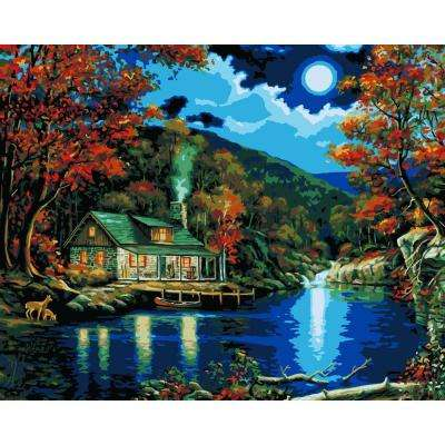 16 in. x 20 in. 22-Color Kit Lakeside Cabin Paint by Number