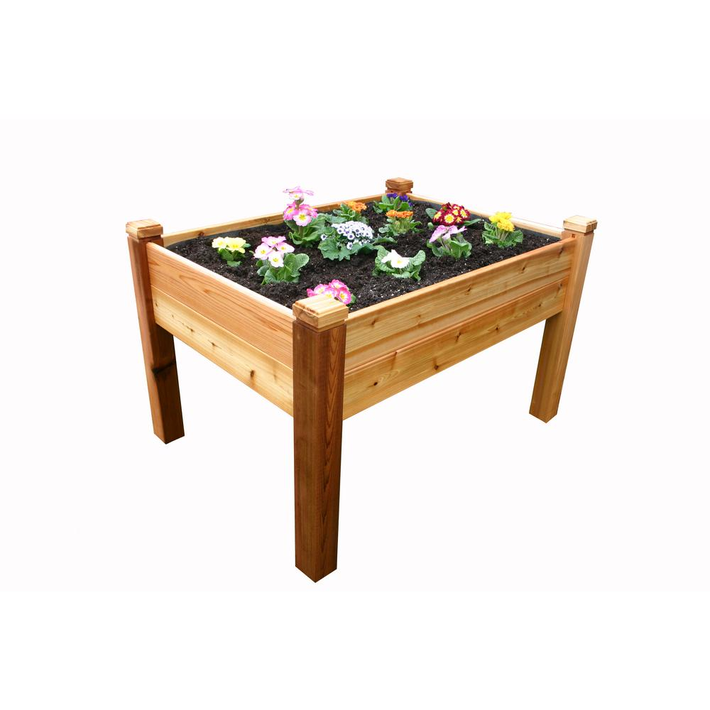 4 ft. x 3 ft. Cedar Elevated Garden Bed, Natural Wood