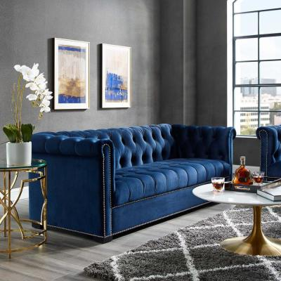 Heritage Midnight Blue Upholstered Velvet Sofa