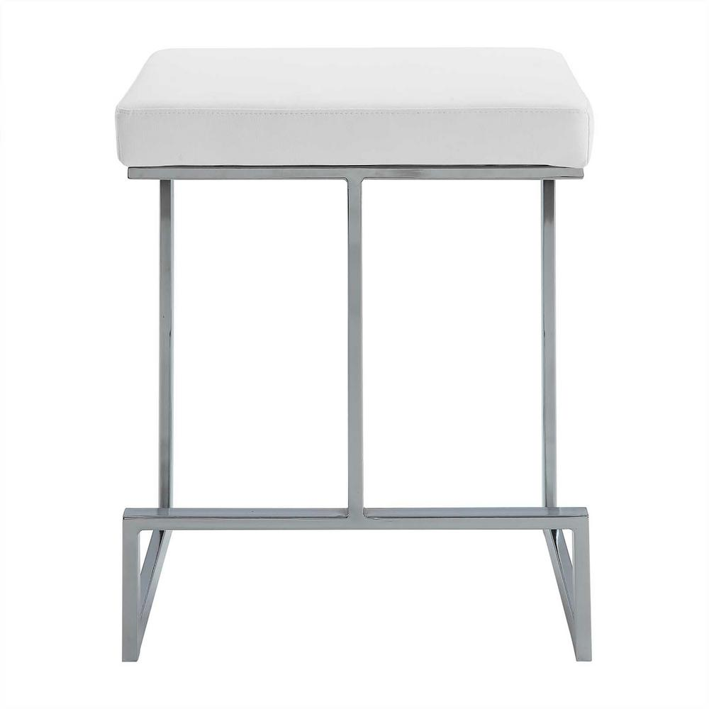 Carolina Cottage Kafka 24 In White And Chrome Upholstered Counter