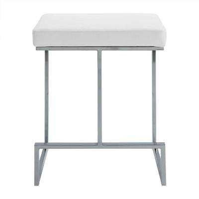 Kafka 24 in. White and Chrome Upholstered Counter Stool