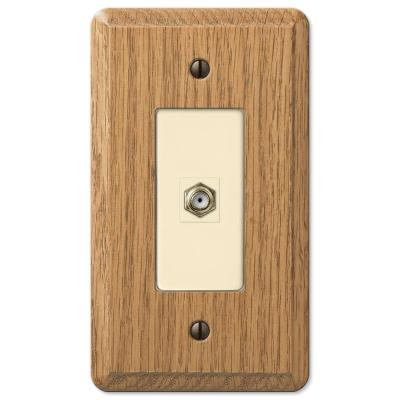 Contemporary 1 Gang Coax Wood Wall Plate - Light Oak