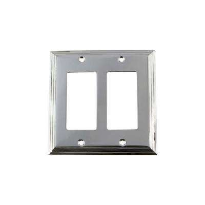 Deco Switch Plate with Double Rocker in Bright Chrome