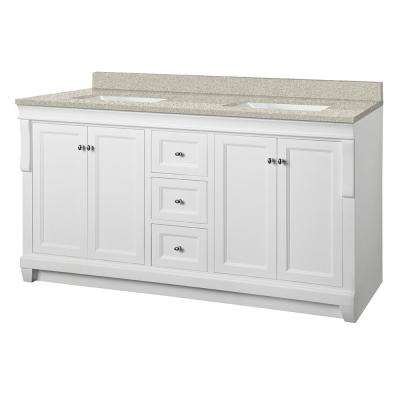 Naples 61 in. W x 22 in. D Vanity in White with Engineered Mable Vanity Top in Sedona with White Basin