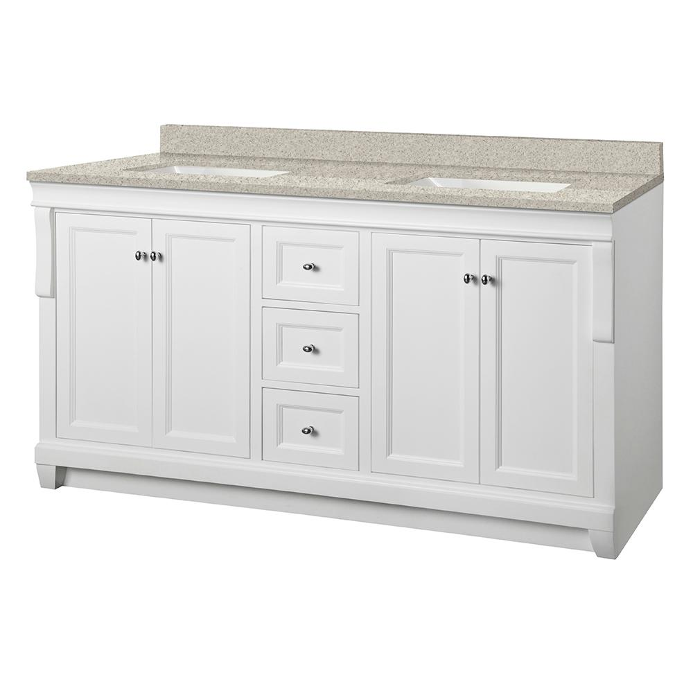 Home Decorators Collection Naples 61 in. W x 22 in. D Vanity in White with Engineered Mable Vanity Top in Sedona with White Sink