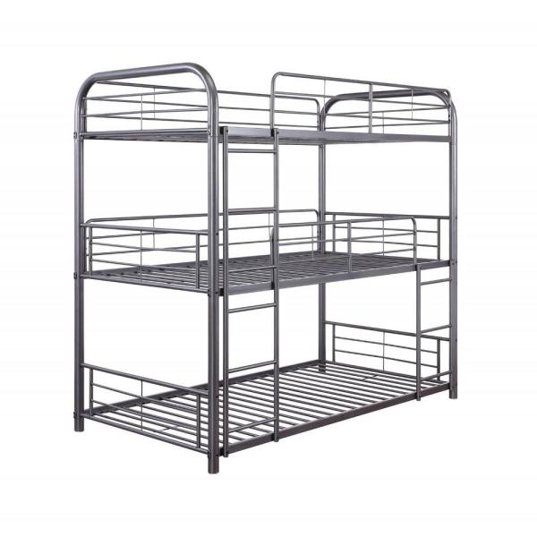 Homeroots Amelia Gray Twin Triple Bunk Bed 347206 The Home Depot