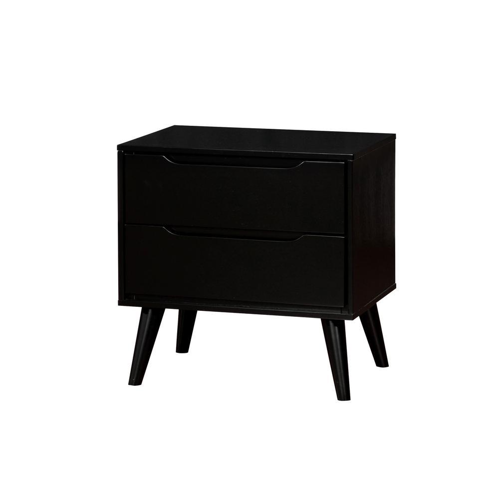 Furniture of America Olen 2-Drawer Black Nightstand IDF-7386BK-N