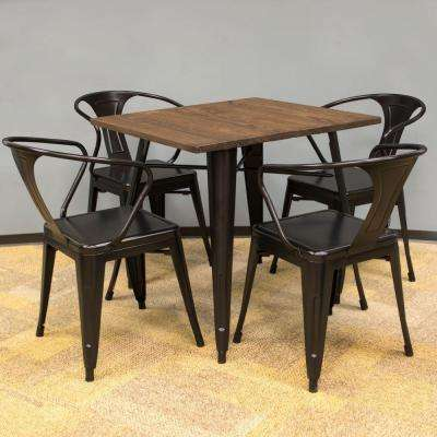 Loft Style 32 in. x 32 in. Dining Table Set in Black with Dark Elm Wood Tabletop (5-Piece)