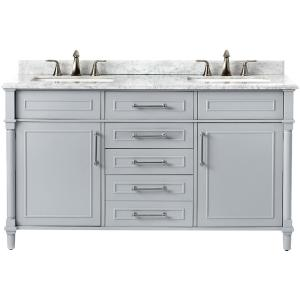 Aberdeen 60 in. W x 22 in. D Double Bath Vanity in Dove Grey with Natural Marble Vanity Top in White