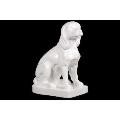 11 in. H Dog Decorative Figurine in White Gloss Finish