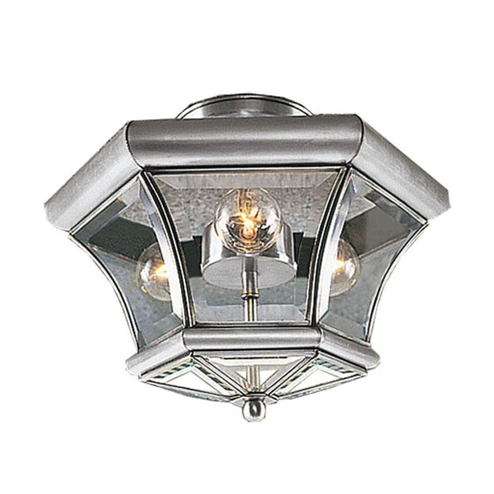 Providence 3-Light Ceiling Brushed Nickel Incandescent Semi Flush Mount  sc 1 st  The Home Depot & Progress Lighting Lucky Collection 3-Light Brushed Nickel Semi ... azcodes.com