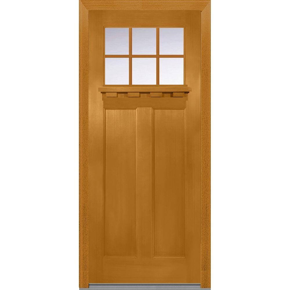 MMI Door 36 in. x 80 in. Shaker Left-Hand Inswing 6-Lite Clear Low-E 2-Panel Stained Fiberglass Fir Prehung Front Door with Shelf