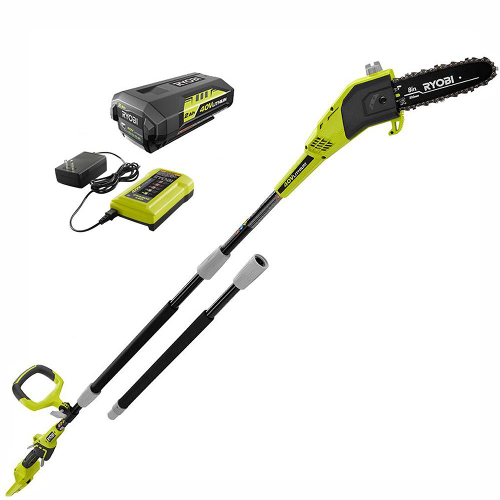 RYOBI 8 in. 40-Volt Lithium-Ion Cordless Pole Saw, 2 Ah Battery and Charger Included
