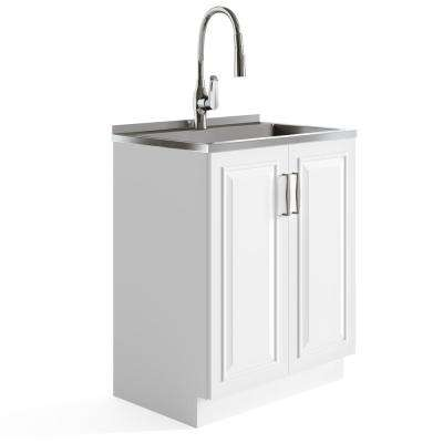 Cleo 27.6 in. x 18.9 in. x 51.5 in. MDF Laundry Cabinet with Undermount Stainless Steel Sink and Pull-Out Faucet