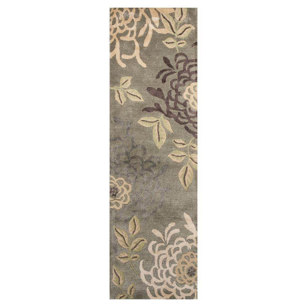Kas Rugs Ausome Mum Sage 2 ft. 3 in. x 7 ft. 6 in. Rug Runner