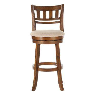 Swivel Stool 30 in. Burnt Brown with Slatted Back