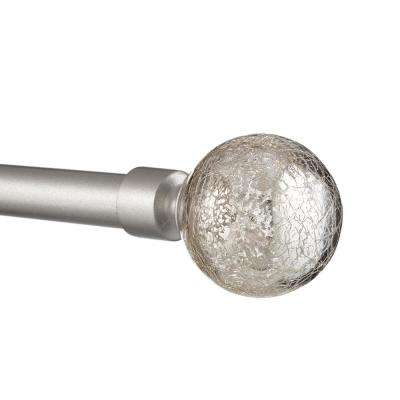 36 in. - 72 in.Adjustable Length 1 in. Dia Curtain Rod Kit in Matte Silver with Silver Aged Sphere Finial