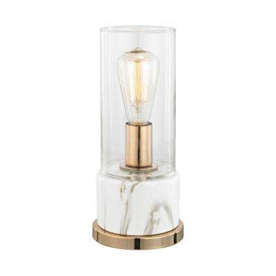 Richmond Hill 13 in. White Faux Marble Table Lamp