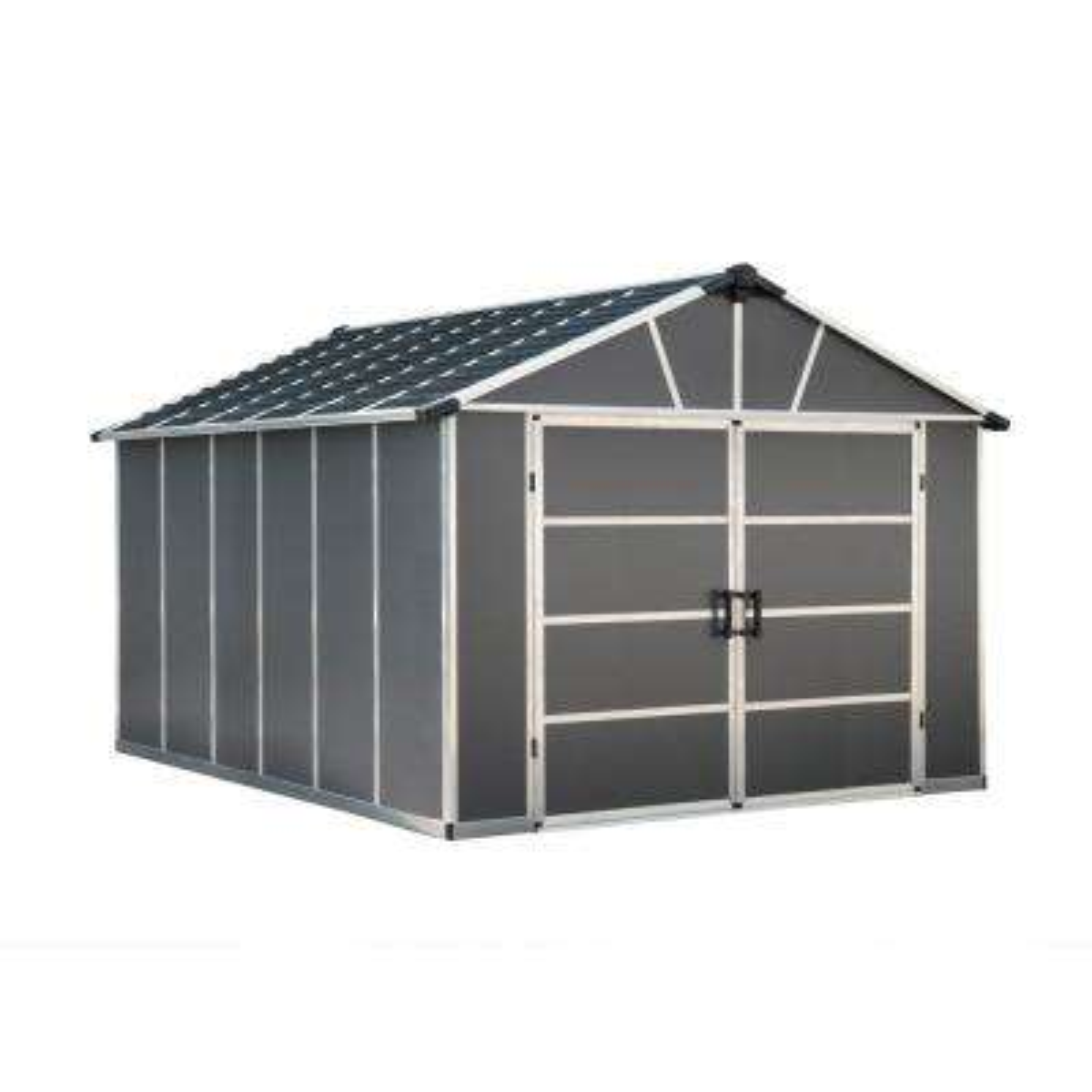 Yukon 11 ft. W x 13.1 ft. D x 8.3 ft. H Dark Gray Garage Shed