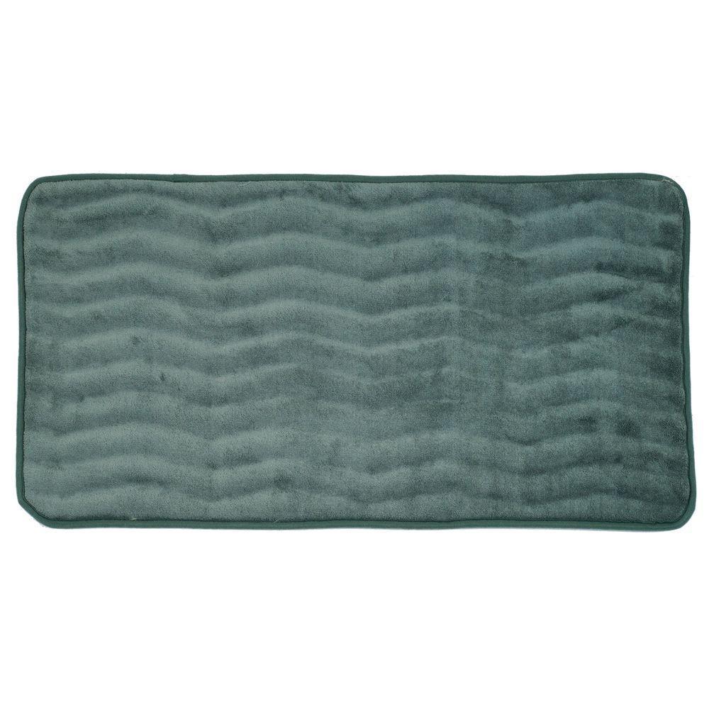 Lavish Home Green 24 in. x 60 in. Memory Foam Extra Long Bath Mat