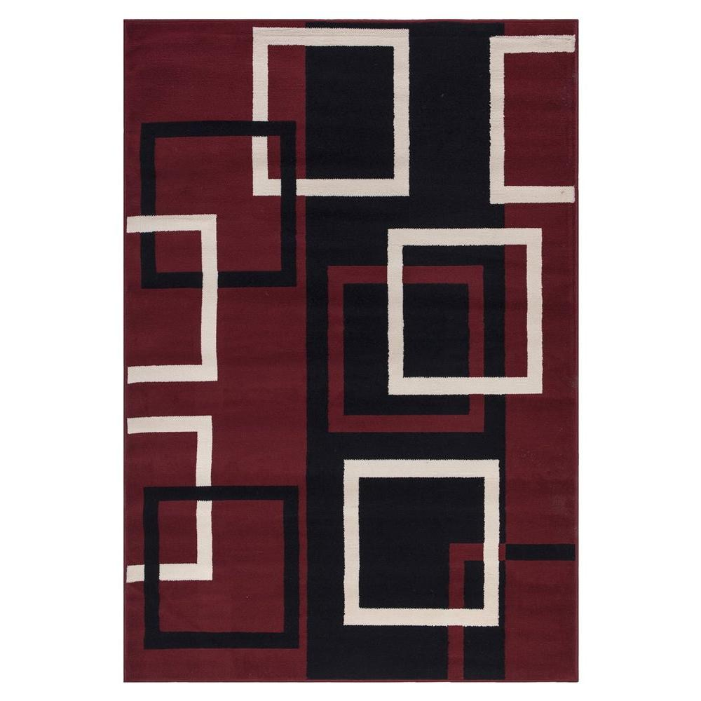 Sweet Home Stores Clifton Collection Modern Boxes Design Dark Red 5 ft. x 7 ft. Area Rug-BCF1700 ...