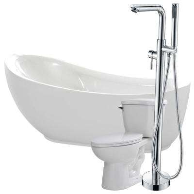 Talyah 71 in. Acrylic Flatbottom Non-Whirlpool Bathtub in White with Sens Faucet and Kame 1.28 GPF Toilet